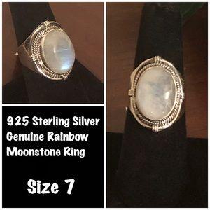 Genuine 925 Silver Rainbow Moonstone Ring 🌈